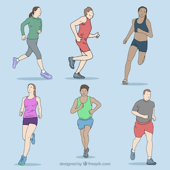 Front view running people collection