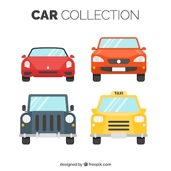 Frontal view of four car with variety of designs