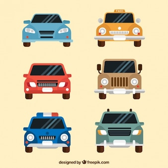 Frontal view of six cars in flat design