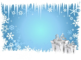 Frozen blue christmas background