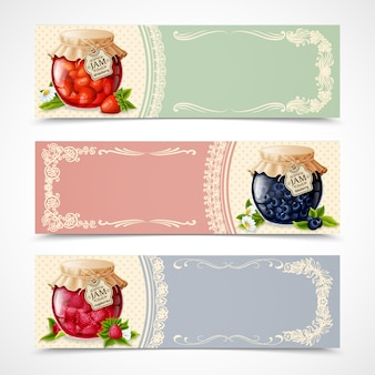 Fruit jams banners collection