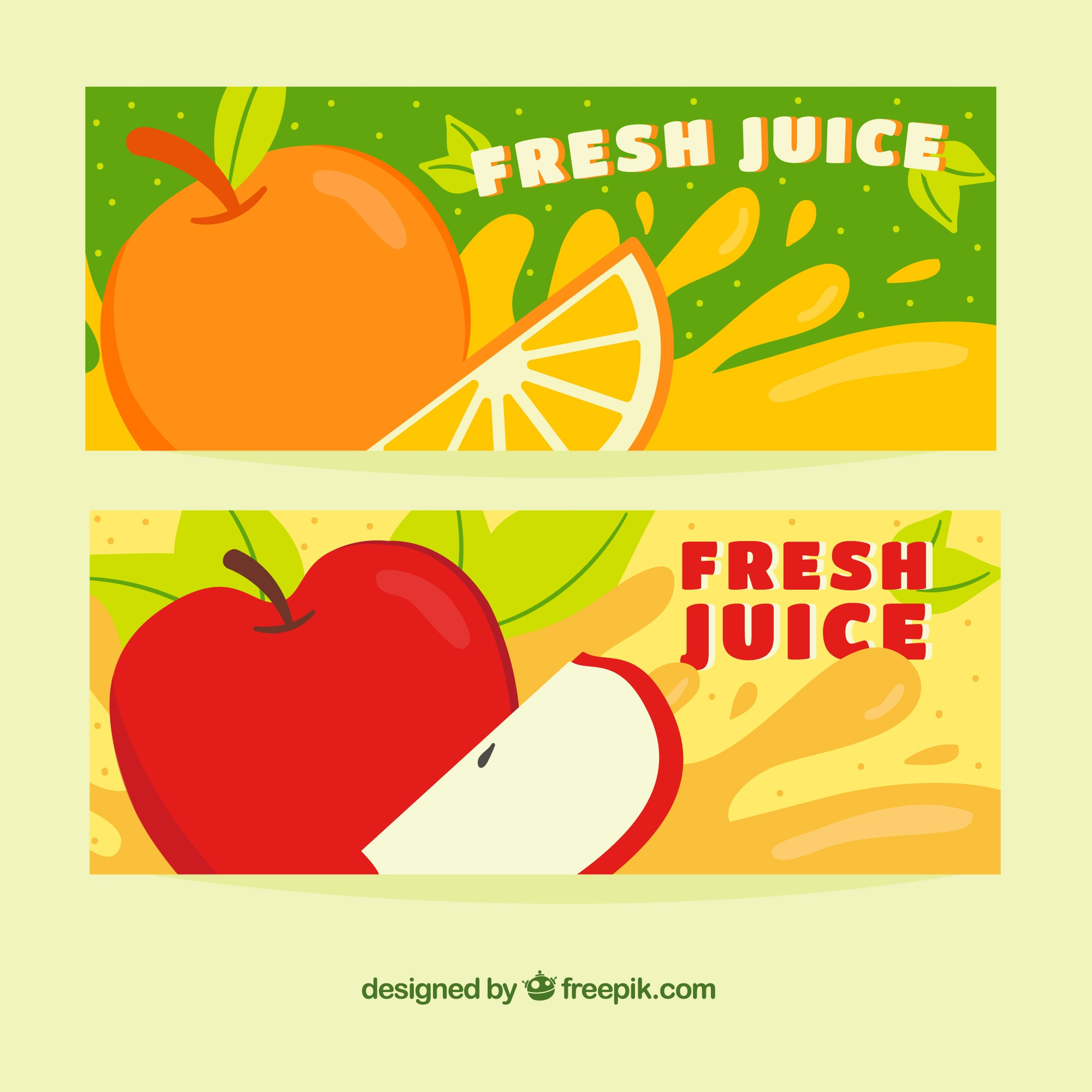 Fruit juice banners with splashes