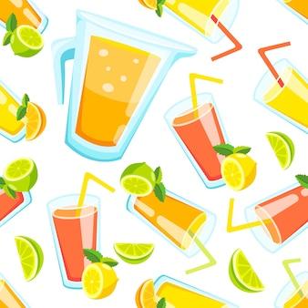 フルーツジュースのパターンの背景