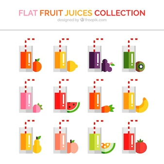 Fruit juices collection with straws