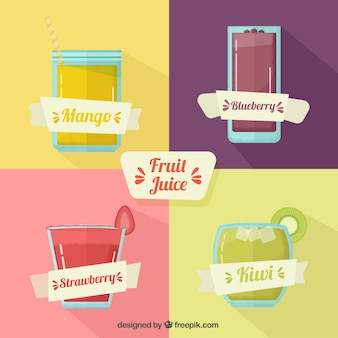 Fruit juices with ribbons in flat design