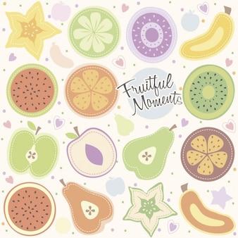 Fruit slices illustrations