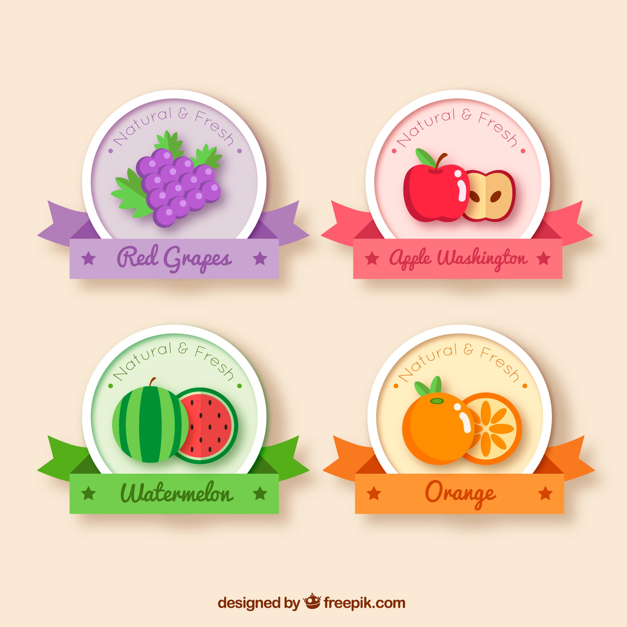 Fruit stickers with decorative ribbons