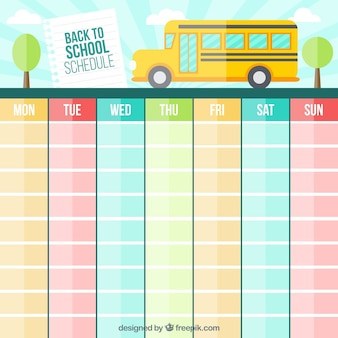 Full color calendar for back to school