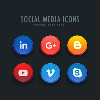 Full color circular icons, social networks