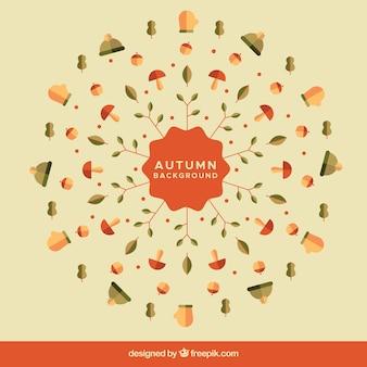 フラットな要素で楽しい秋の背景
