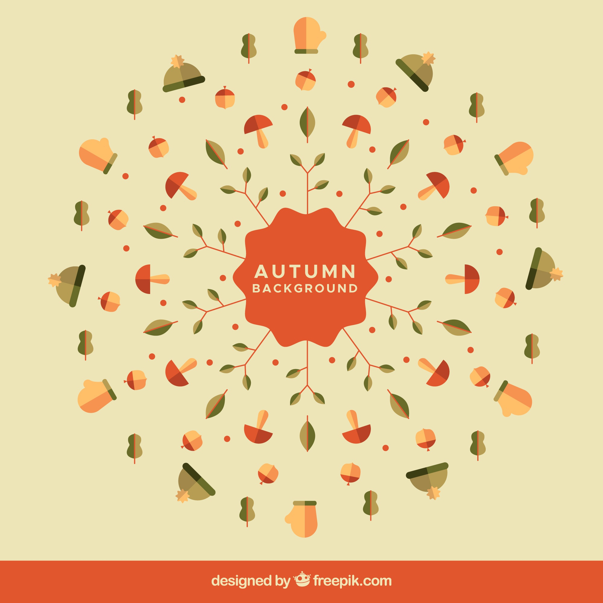 Fun autumn background with flat elements
