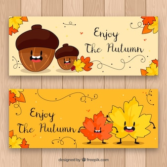 Fun autumn banners with hand drawnacorn and leaves