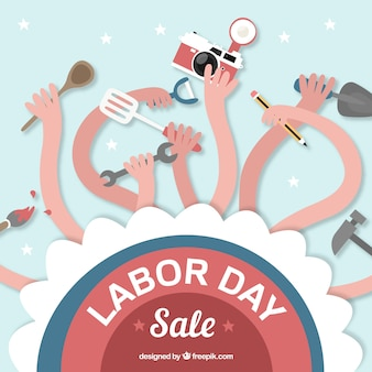 Fun background of labor day sales with arms and tools