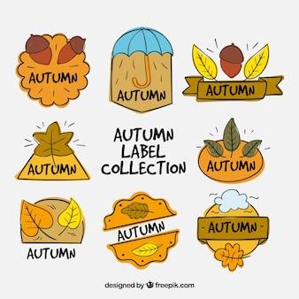 手描きの秋のラベルの楽しいコレクション