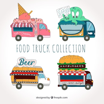 Fun collection of hand drawn food trucks