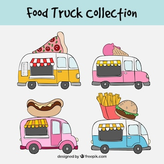 Fun collection with hand drawn food trucks