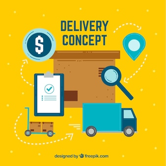 Fun delivery concept with colorful elements