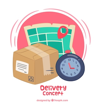 Fun delivery concept with hand drawn elements