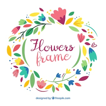 Fun floral frame with flat design