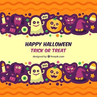 Fun halloween background with flat design