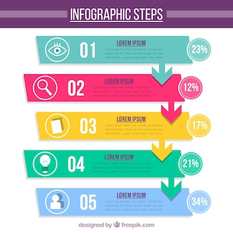 Fun infographic template with flat design
