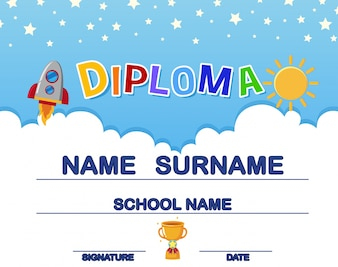 Fun kid's diploma with rocket