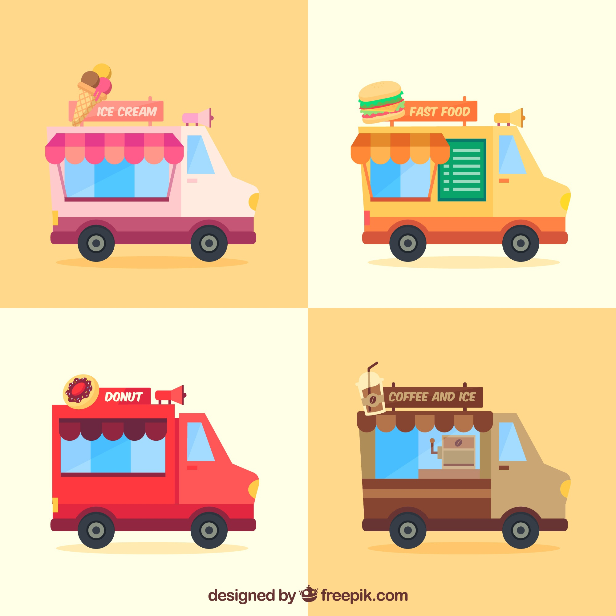 Fun pack of food truck with fast food