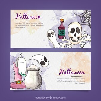 Fun pack of hand drawn halloween banners