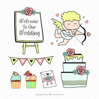 手描きの結婚式の要素の楽しいパック