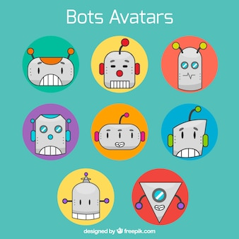 Fun pack of robots avatars