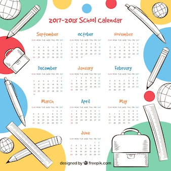 Fun school calendar with hand drawn materials
