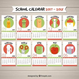 Fun school calendar with school items for each month