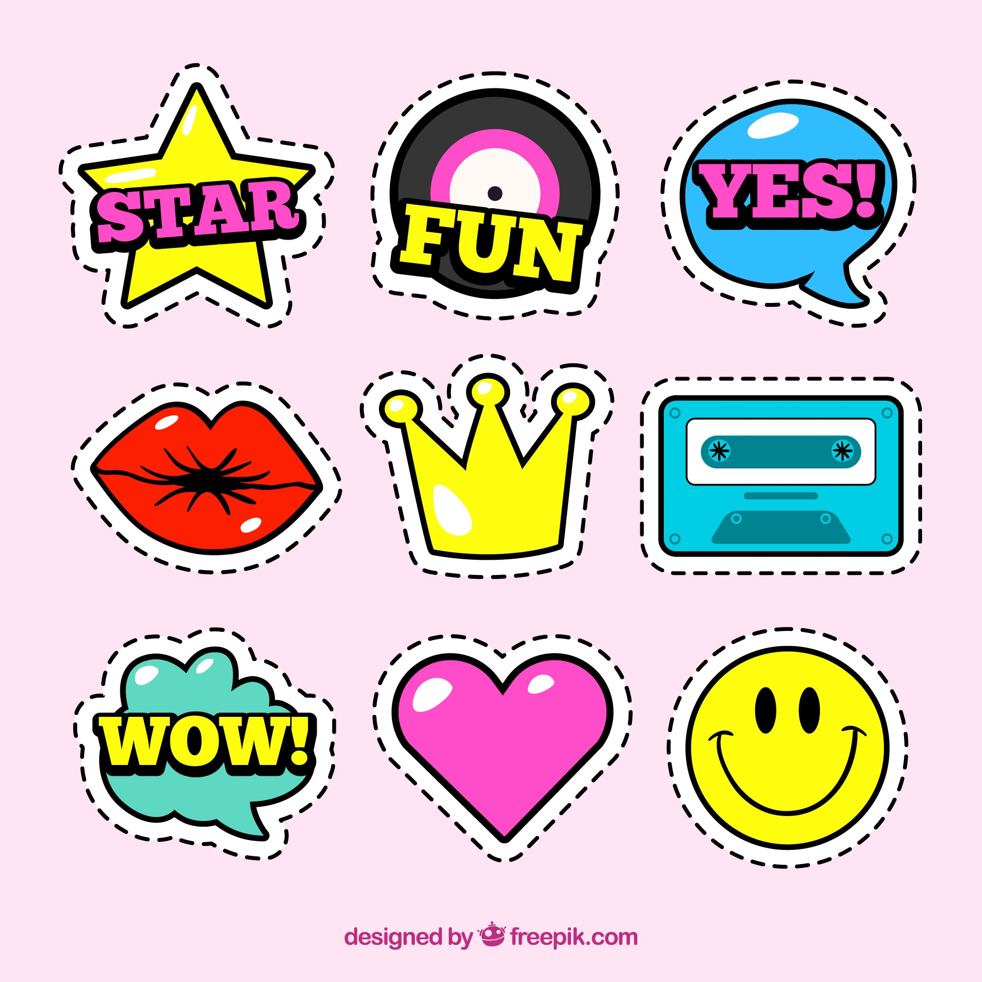 Fun set of stickers with comic style