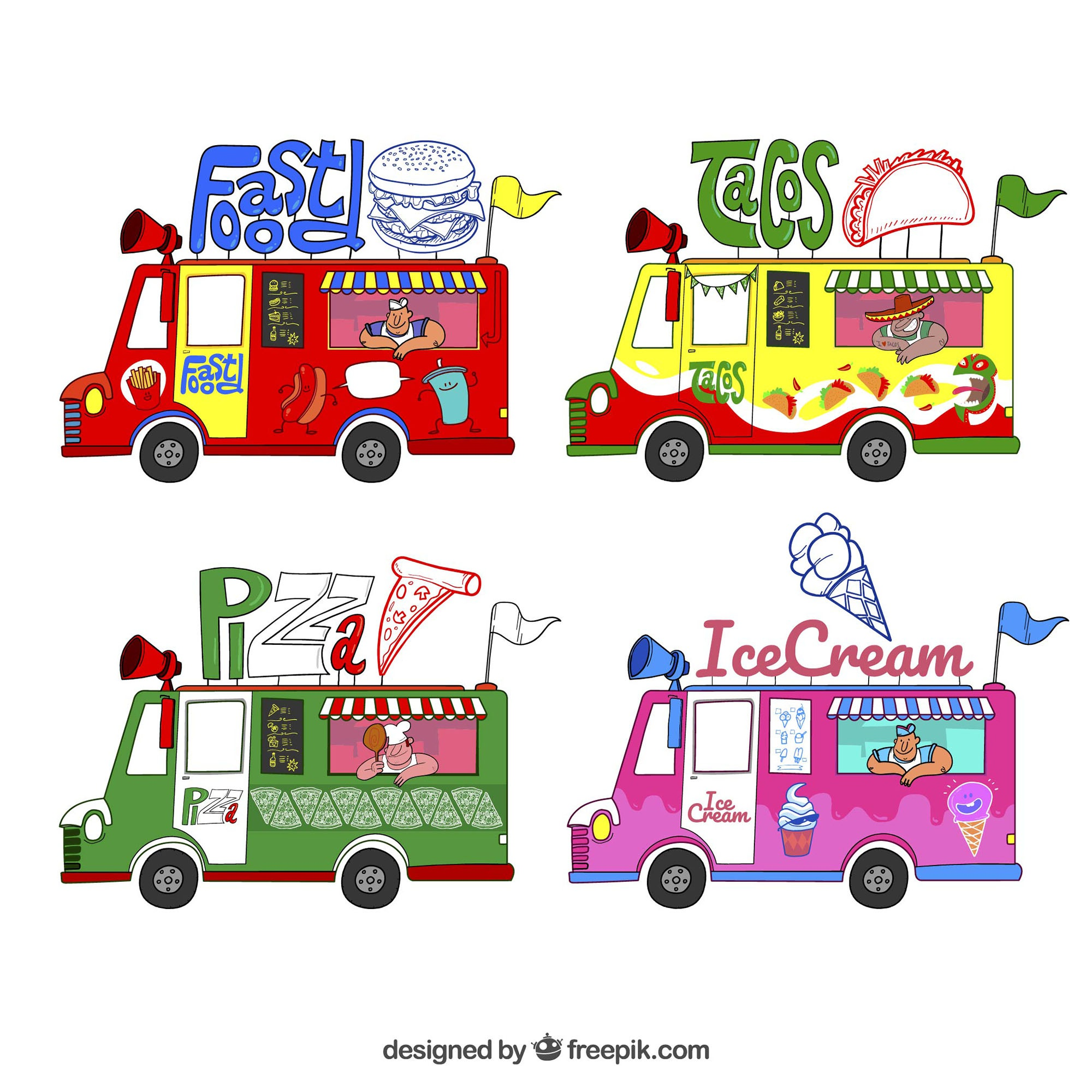 Fun set with variety of food trucks