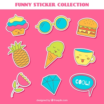 Fun stickers with hand drawn style