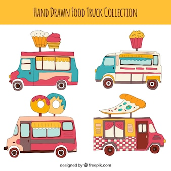 Fun variety of hand drawn food trucks