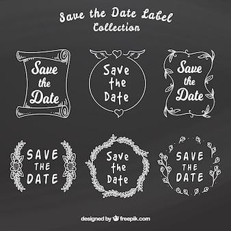 Fun wedding labels on blackboard