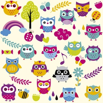 Funny and colorful owls