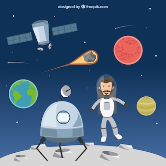 Funny astronaut on the moon