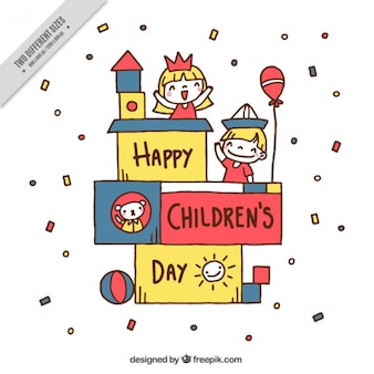 Funny background with kids and confetti for children's day