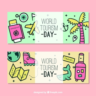 Funny banners about world tourism day