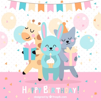 動物とおかしい誕生日の背景