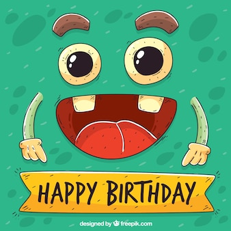Funny birthday background with hand drawn character