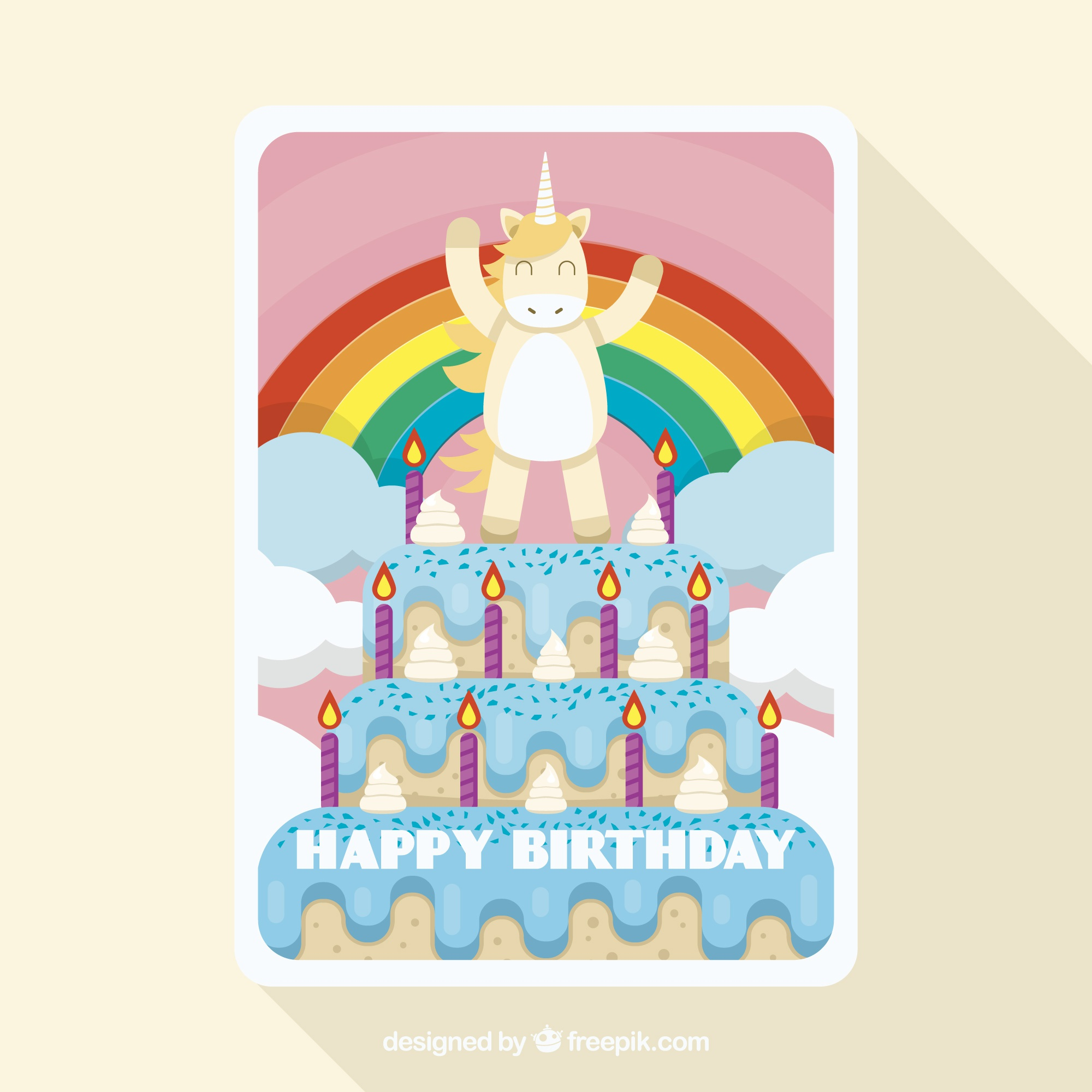 Funny birthday card with a unicorn on a cake