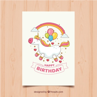Funny birthday card with unicorn