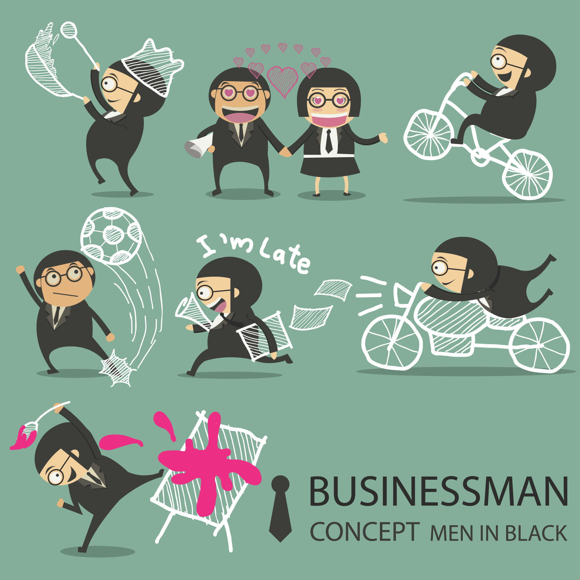 Funny businesswoman character collection