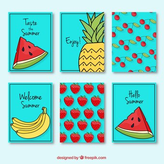 Funny cards with summer fruits