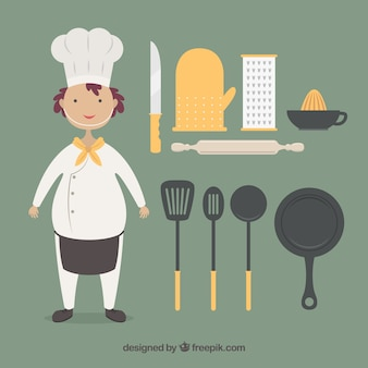 面白いシェフ、調理器具付き