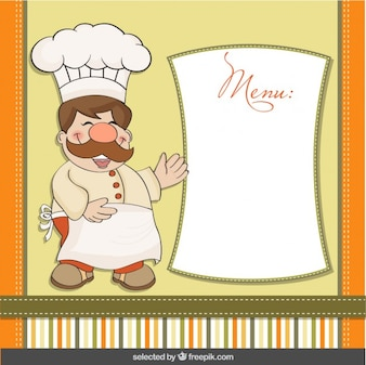 Funny chef with menu template