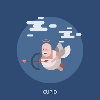 Funny cupid with an arrow heart